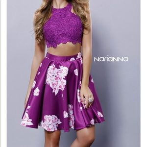 Narianna Purple 2 Piece Short Homecoming Dress
